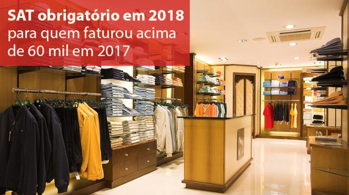 SAT obrigatório em 2018 para quem faturou acima de R$ 60.000
